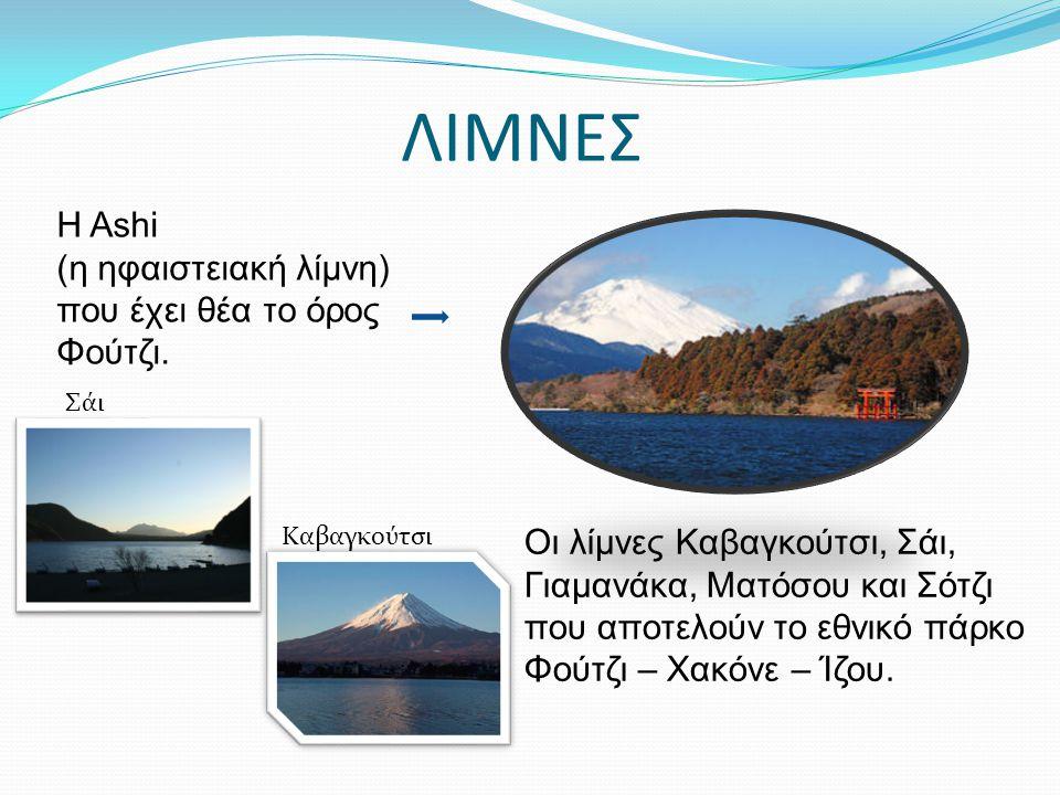 ΛΙΜΝΕΣ Η Ashi (η ηφαιστειακή λίμνη) που έχει θέα το όρος Φούτζι. Οι λίμνες Καβαγκούτσι, Σάι, Γιαμανάκα, Ματόσου και Σότζι που αποτελούν το εθνικό πάρκ
