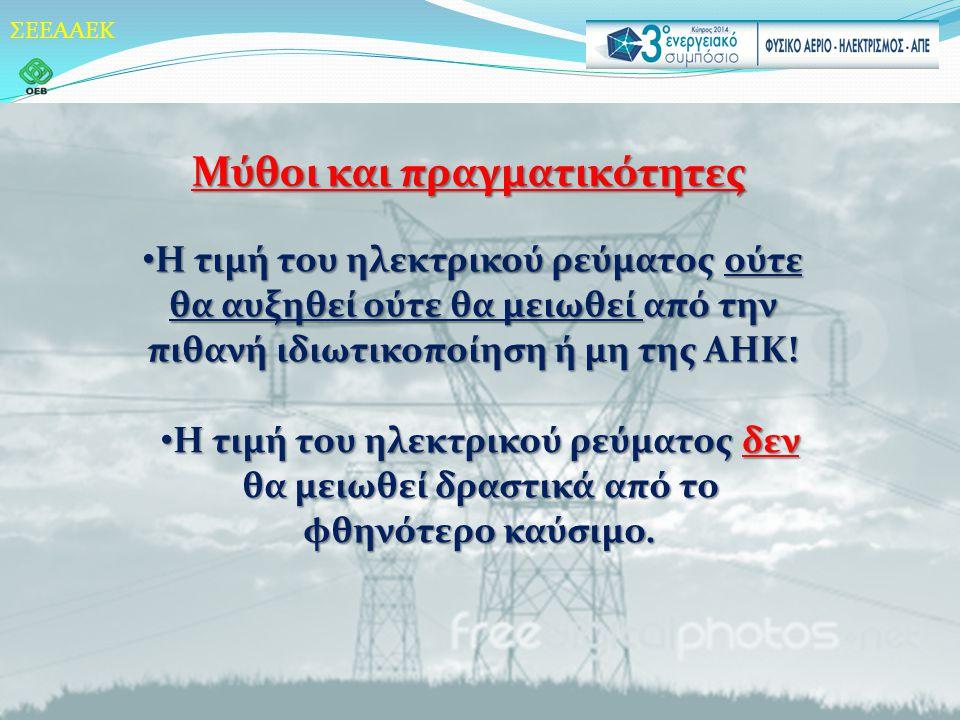 ΣΕΕΑΑΕΚ Μύθοι και πραγματικότητες • Η τιμή του ηλεκτρικού ρεύματος ούτε θα αυξηθεί ούτε θα μειωθεί από την πιθανή ιδιωτικοποίηση ή μη της ΑΗΚ.