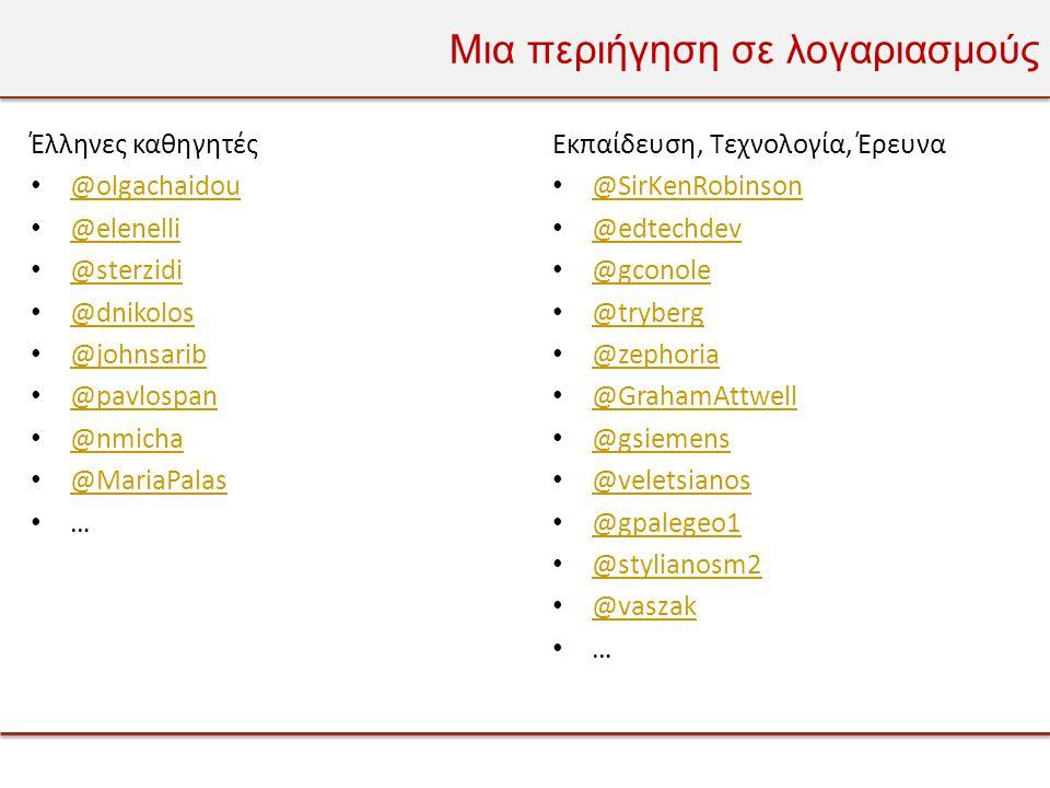 Μια περιήγηση σε λογαριασμούς Έλληνες καθηγητές • @olgachaidou @olgachaidou • @elenelli @elenelli • @sterzidi @sterzidi • @dnikolos @dnikolos • @johnsarib @johnsarib • @pavlospan @pavlospan • @nmicha @nmicha • @MariaPalas @MariaPalas • … Εκπαίδευση, Τεχνολογία, Έρευνα • @SirKenRobinson @SirKenRobinson • @edtechdev @edtechdev • @gconole @gconole • @tryberg @tryberg • @zephoria @zephoria • @GrahamAttwell @GrahamAttwell • @gsiemens @gsiemens • @veletsianos @veletsianos • @gpalegeo1 @gpalegeo1 • @stylianosm2 @stylianosm2 • @vaszak @vaszak • …