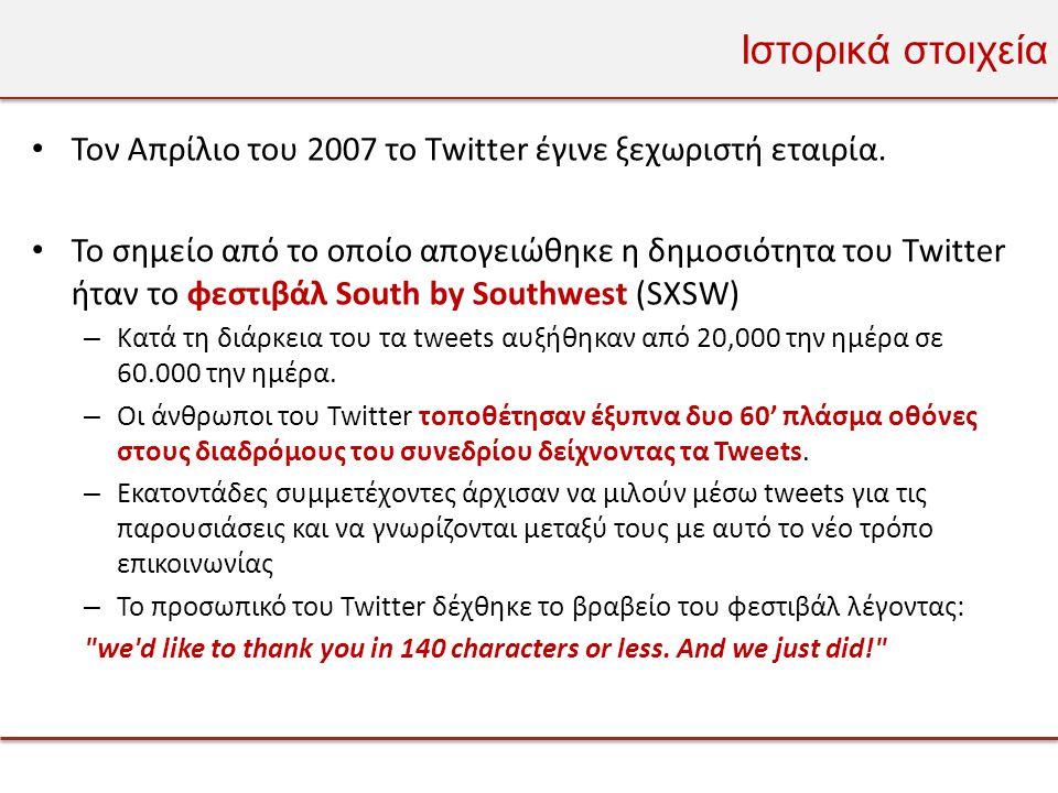 Ιστορικά στοιχεία • Τον Απρίλιο του 2007 το Twitter έγινε ξεχωριστή εταιρία.
