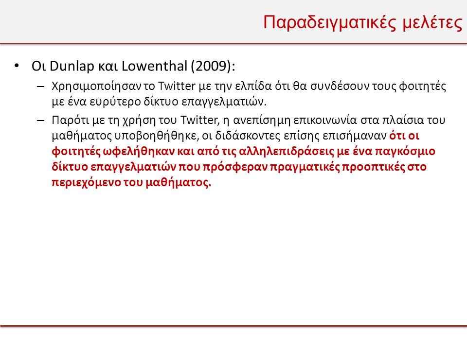 Παραδειγματικές μελέτες • Οι Dunlap και Lowenthal (2009): – Χρησιμοποίησαν το Twitter με την ελπίδα ότι θα συνδέσουν τους φοιτητές με ένα ευρύτερο δίκτυο επαγγελματιών.