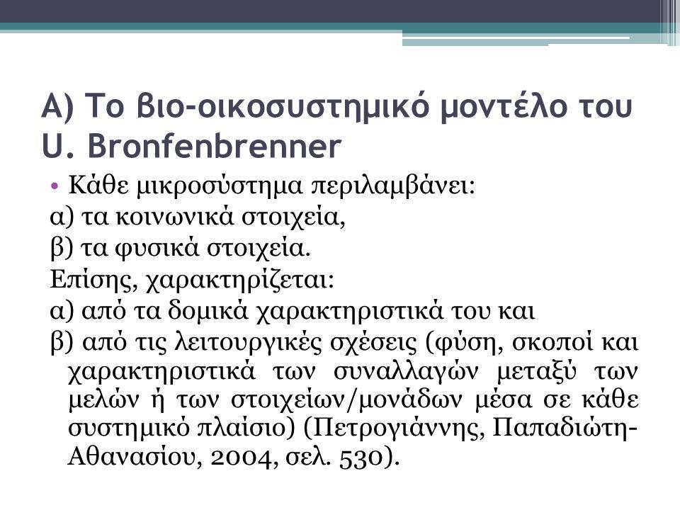 Α) Το βιο-οικοσυστημικό μοντέλο του U.