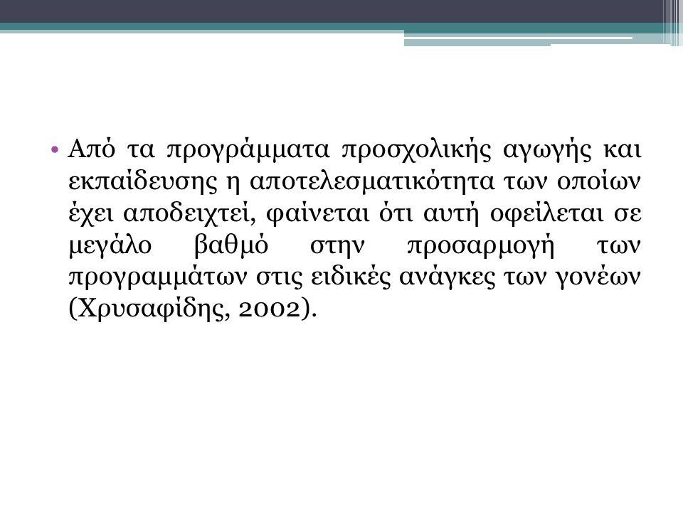 •Από τα προγράμματα προσχολικής αγωγής και εκπαίδευσης η αποτελεσματικότητα των οποίων έχει αποδειχτεί, φαίνεται ότι αυτή οφείλεται σε μεγάλο βαθμό στην προσαρμογή των προγραμμάτων στις ειδικές ανάγκες των γονέων (Χρυσαφίδης, 2002).