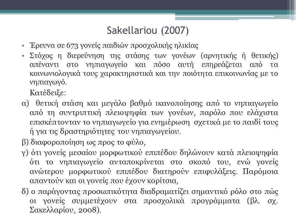 Sakellariou (2007) •Έρευνα σε 673 γονείς παιδιών προσχολικής ηλικίας •Στόχος η διερεύνηση της στάσης των γονέων (αρνητικής ή θετικής) απέναντι στο νηπιαγωγείο και πόσο αυτή επηρεάζεται από τα κοινωνιολογικά τους χαρακτηριστικά και την ποιότητα επικοινωνίας με το νηπιαγωγό.