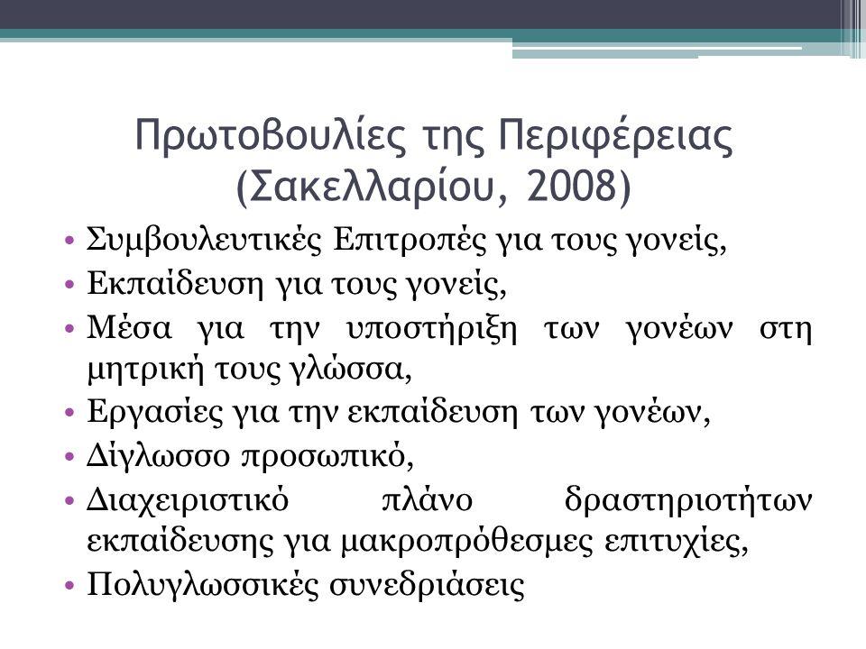 Πρωτοβουλίες της Περιφέρειας (Σακελλαρίου, 2008) •Συμβουλευτικές Επιτροπές για τους γονείς, •Εκπαίδευση για τους γονείς, •Μέσα για την υποστήριξη των γονέων στη μητρική τους γλώσσα, •Εργασίες για την εκπαίδευση των γονέων, •Δίγλωσσο προσωπικό, •Διαχειριστικό πλάνο δραστηριοτήτων εκπαίδευσης για μακροπρόθεσμες επιτυχίες, •Πολυγλωσσικές συνεδριάσεις
