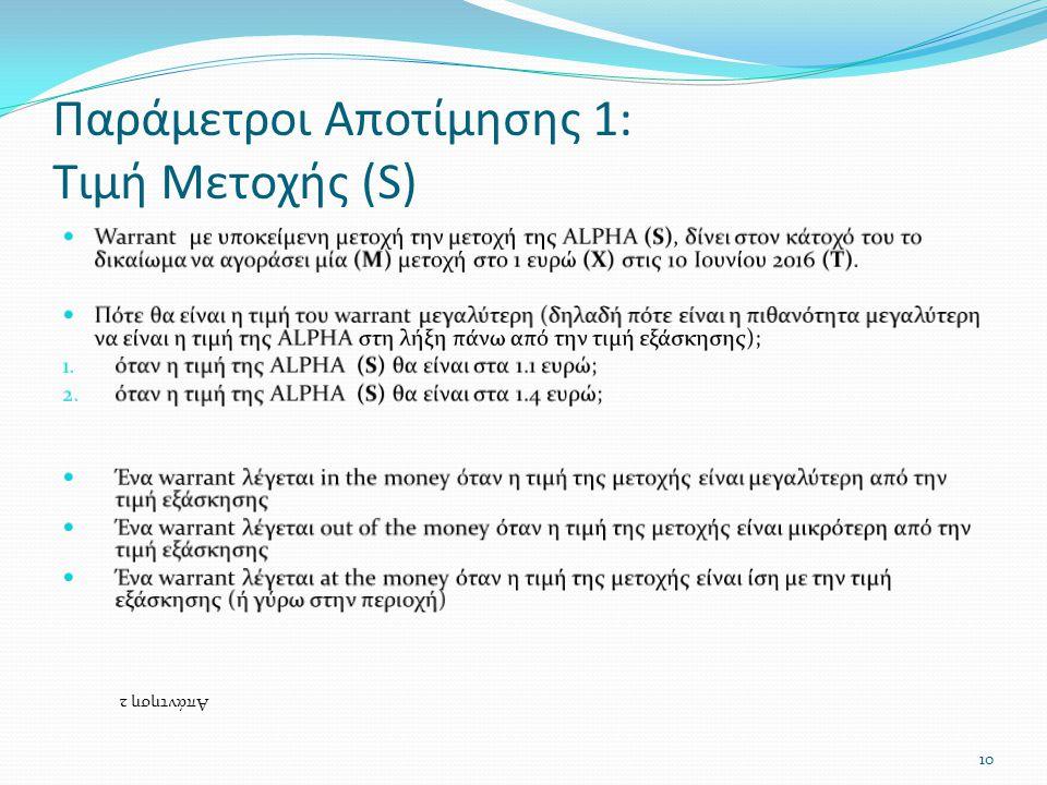Παράμετροι Αποτίμησης 1: Τιμή Μετοχής (S) Απάντηση 2 10