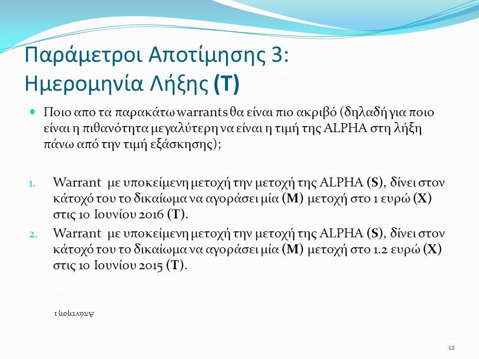 Παράμετροι Αποτίμησης 3: Ημερομηνία Λήξης (Τ)  Ποιο απο τα παρακάτω warrants θα είναι πιο ακριβό (δηλαδή για ποιο είναι η πιθανότητα μεγαλύτερη να είναι η τιμή της ALPHA στη λήξη πάνω από την τιμή εξάσκησης); 1.