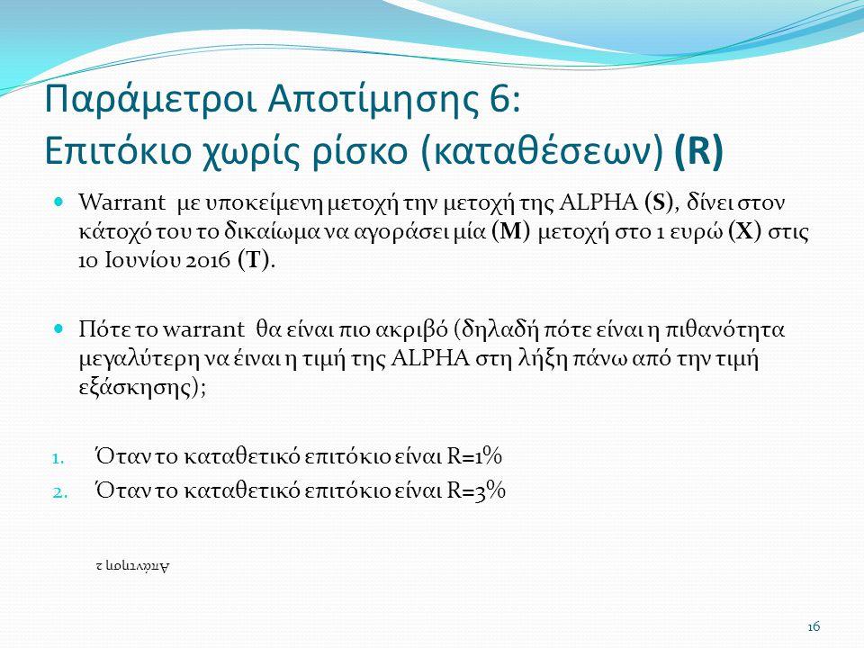 Παράμετροι Αποτίμησης 6: Επιτόκιο χωρίς ρίσκο (καταθέσεων) (R)  Warrant με υποκείμενη μετοχή την μετοχή της ALPHA (S), δίνει στον κάτοχό του το δικαίωμα να αγοράσει μία (M) μετοχή στο 1 ευρώ (X) στις 10 Ιουνίου 2016 (T).
