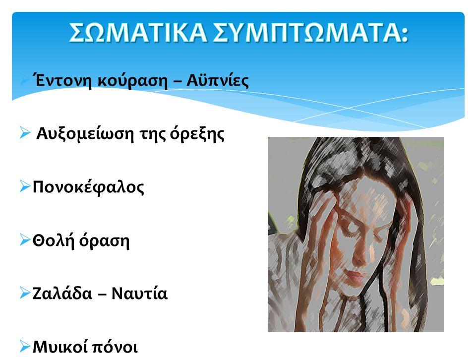  Έντονη κούραση – Αϋπνίες  Αυξομείωση της όρεξης  Πονοκέφαλος  Θολή όραση  Ζαλάδα – Ναυτία  Μυικοί πόνοι