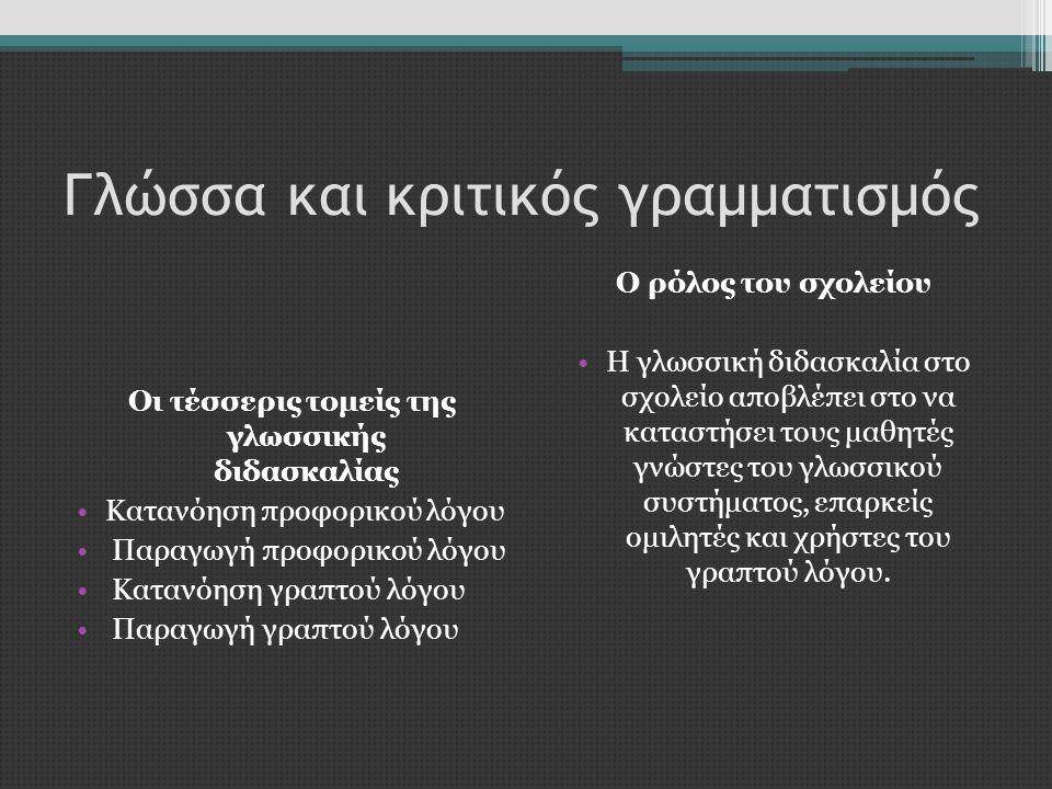 Γλώσσα και κριτικός γραμματισμός Οι τέσσερις τομείς της γλωσσικής διδασκαλίας •Κατανόηση προφορικού λόγου • Παραγωγή προφορικού λόγου • Κατανόηση γραπ