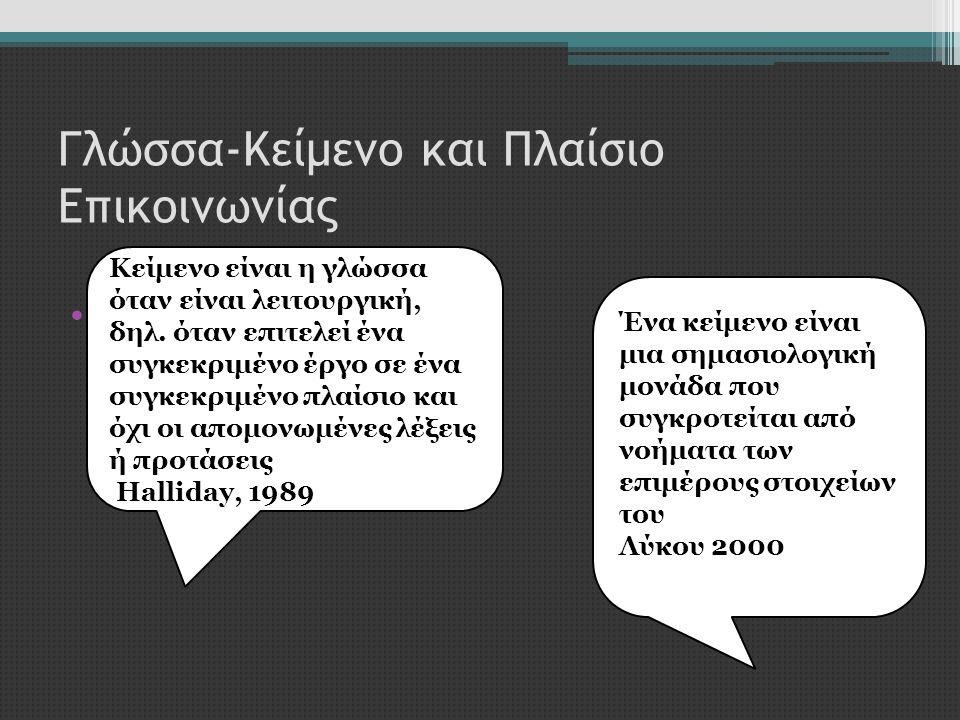 Γλώσσα-Κείμενο και Πλαίσιο Επικοινωνίας •Τι είναι κείμενο Κείμενο είναι η γλώσσα όταν είναι λειτουργική, δηλ. όταν επιτελεί ένα συγκεκριμένο έργο σε έ
