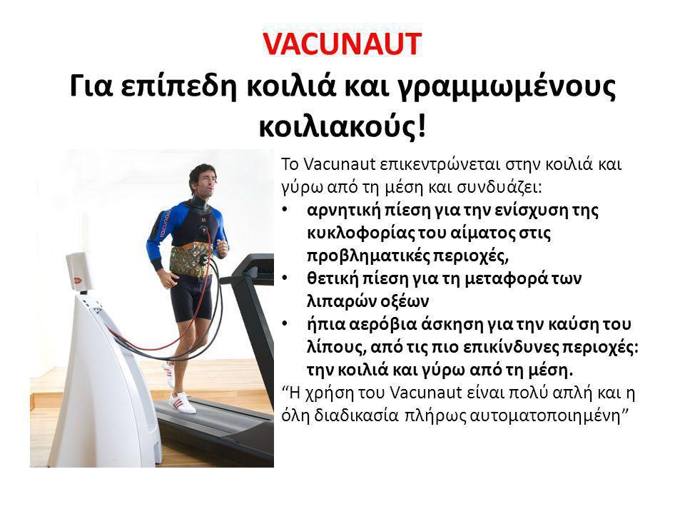 VACUNAUT Για επίπεδη κοιλιά και γραμμωμένους κοιλιακούς! Το Vacunaut επικεντρώνεται στην κοιλιά και γύρω από τη μέση και συνδυάζει: • αρνητική πίεση γ