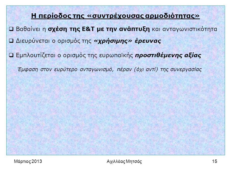 Αχιλλέας Μητσός15 Η περίοδος της «συντρέχουσας αρμοδιότητας»  Βαθαίνει η σχέση της Ε&Τ με την ανάπτυξη και ανταγωνιστικότητα  Διευρύνεται ο ορισμός της «χρήσιμης» έρευνας  Εμπλουτίζεται ο ορισμός της ευρωπαϊκής προστιθέμενης αξίας Έμφαση στον ευρύτερο ανταγωνισμό, πέραν (όχι αντί) της συνεργασίας Μάρτιος 2013