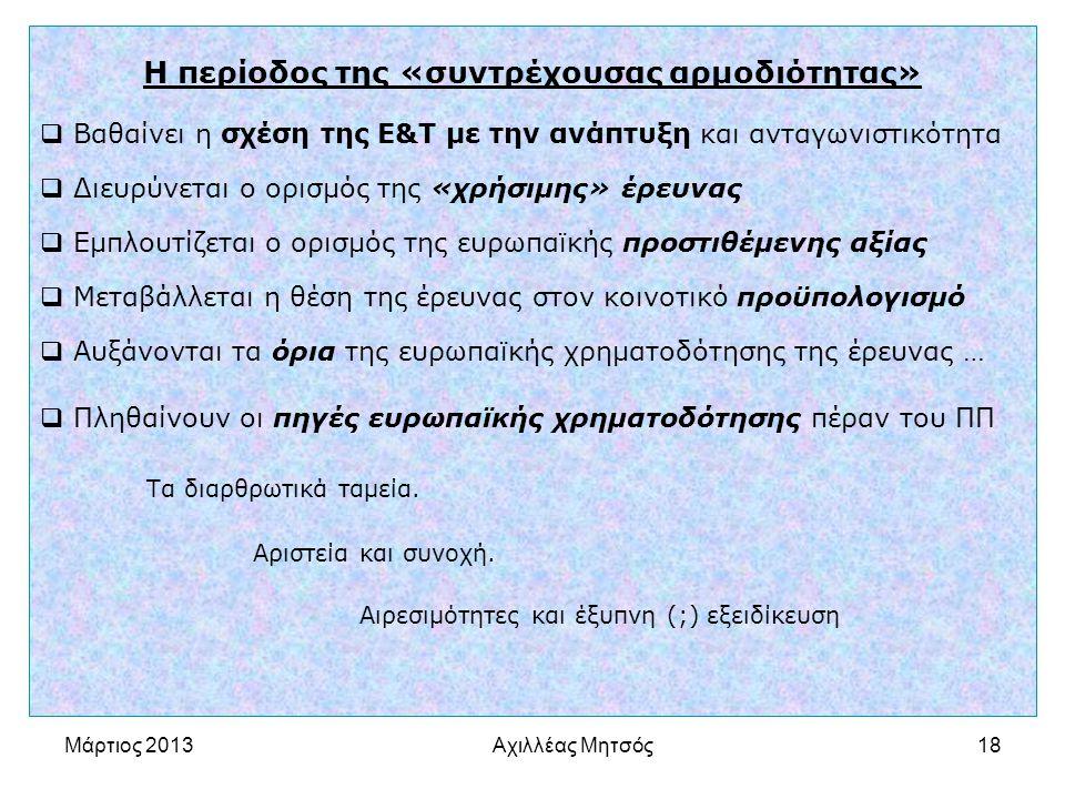 Αχιλλέας Μητσός18 Η περίοδος της «συντρέχουσας αρμοδιότητας»  Βαθαίνει η σχέση της Ε&Τ με την ανάπτυξη και ανταγωνιστικότητα  Διευρύνεται ο ορισμός της «χρήσιμης» έρευνας  Εμπλουτίζεται ο ορισμός της ευρωπαϊκής προστιθέμενης αξίας  Μεταβάλλεται η θέση της έρευνας στον κοινοτικό προϋπολογισμό  Αυξάνονται τα όρια της ευρωπαϊκής χρηματοδότησης της έρευνας …  Πληθαίνουν οι πηγές ευρωπαϊκής χρηματοδότησης πέραν του ΠΠ Τα διαρθρωτικά ταμεία.