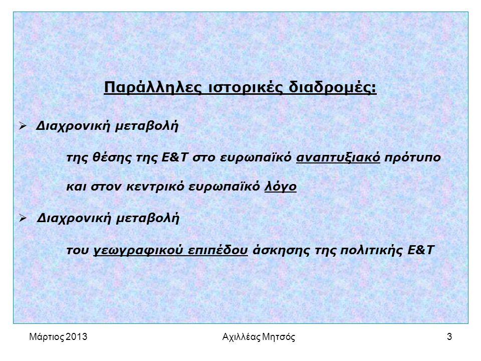 Αχιλλέας Μητσός3 Παράλληλες ιστορικές διαδρομές:  Διαχρονική μεταβολή της θέσης της Ε&Τ στο ευρωπαϊκό αναπτυξιακό πρότυπο και στον κεντρικό ευρωπαϊκό λόγο  Διαχρονική μεταβολή του γεωγραφικού επιπέδου άσκησης της πολιτικής Ε&Τ Μάρτιος 2013