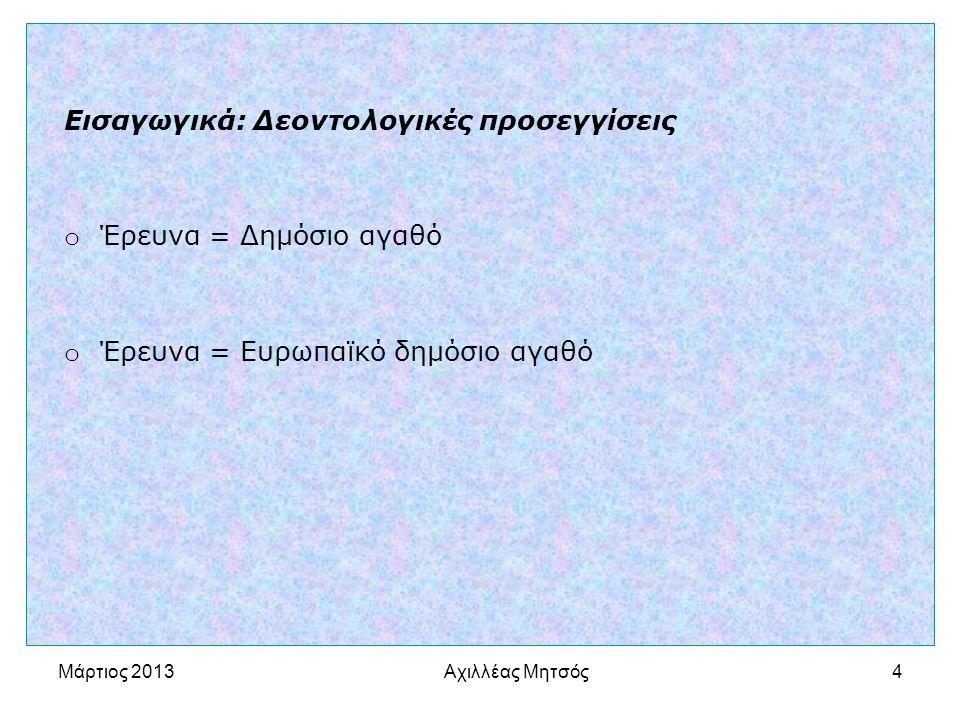 Αχιλλέας Μητσός4 Εισαγωγικά: Δεοντολογικές προσεγγίσεις o Έρευνα = Δημόσιο αγαθό o Έρευνα = Ευρωπαϊκό δημόσιο αγαθό Μάρτιος 2013