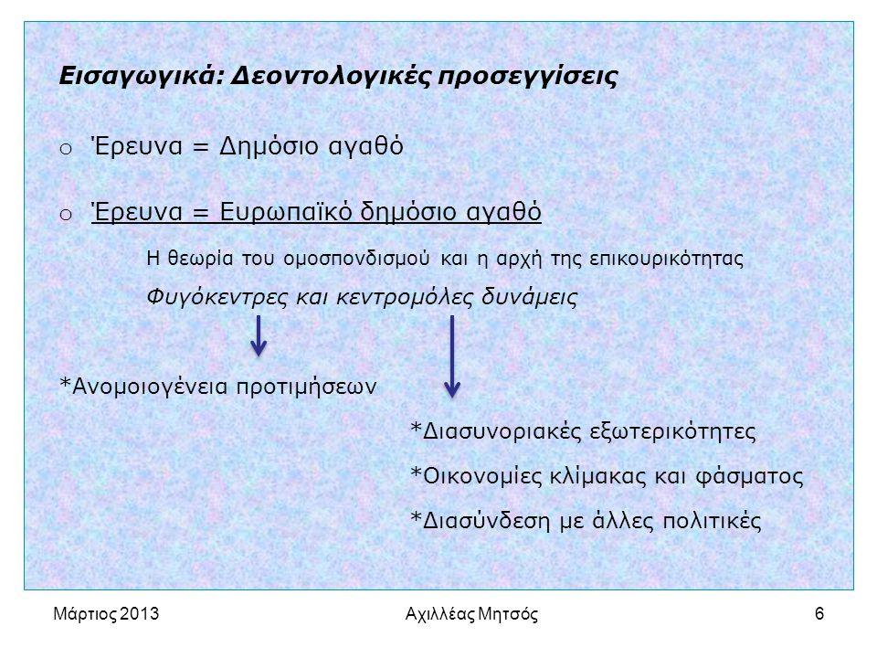 Αχιλλέας Μητσός6 Εισαγωγικά: Δεοντολογικές προσεγγίσεις o Έρευνα = Δημόσιο αγαθό o Έρευνα = Ευρωπαϊκό δημόσιο αγαθό Η θεωρία του ομοσπονδισμού και η αρχή της επικουρικότητας Φυγόκεντρες και κεντρομόλες δυνάμεις *Ανομοιογένεια προτιμήσεων *Διασυνοριακές εξωτερικότητες *Οικονομίες κλίμακας και φάσματος *Διασύνδεση με άλλες πολιτικές Μάρτιος 2013