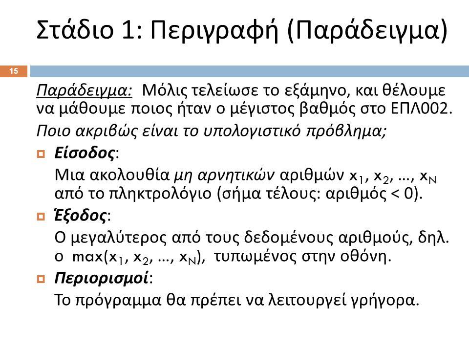 Στάδιο 1: Περιγραφή ( Παράδειγμα ) 15 Παράδειγμα : Μόλις τελείωσε το εξάμηνο, και θέλουμε να μάθουμε ποιος ήταν ο μέγιστος βαθμός στο ΕΠΛ 002. Ποιο ακ