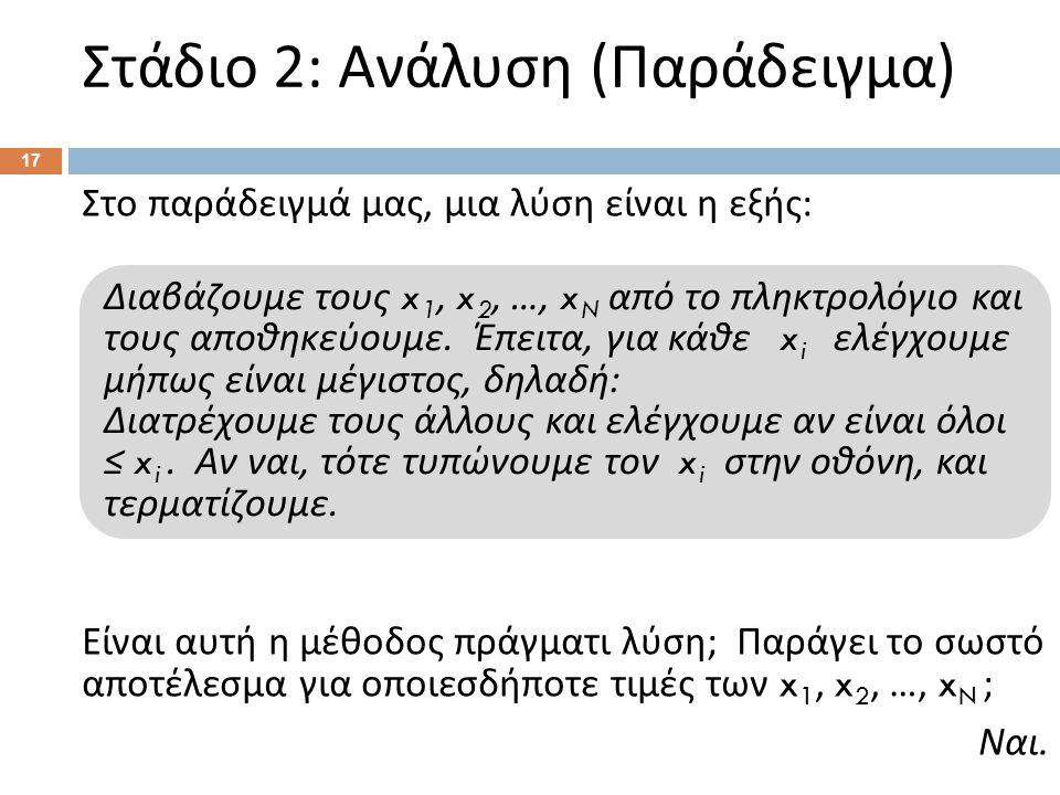 Στάδιο 2: Ανάλυση ( Παράδειγμα ) 17 Στο παράδειγμά μας, μια λύση είναι η εξής : Είναι αυτή η μέθοδος πράγματι λύση ; Παράγει το σωστό αποτέλεσμα για ο