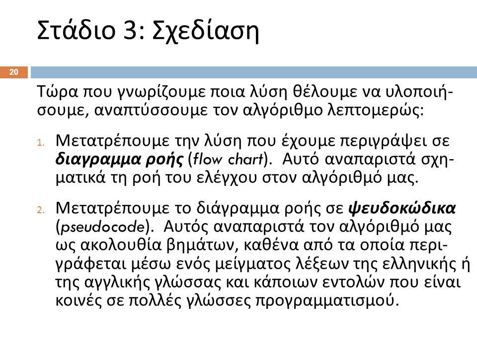Στάδιο 3: Σχεδίαση 20 Τώρα που γνωρίζουμε ποια λύση θέλουμε να υλοποιή - σουμε, αναπτύσσουμε τον αλγόριθμο λεπτομερώς : 1. Μετατρέπουμε την λύση που έ