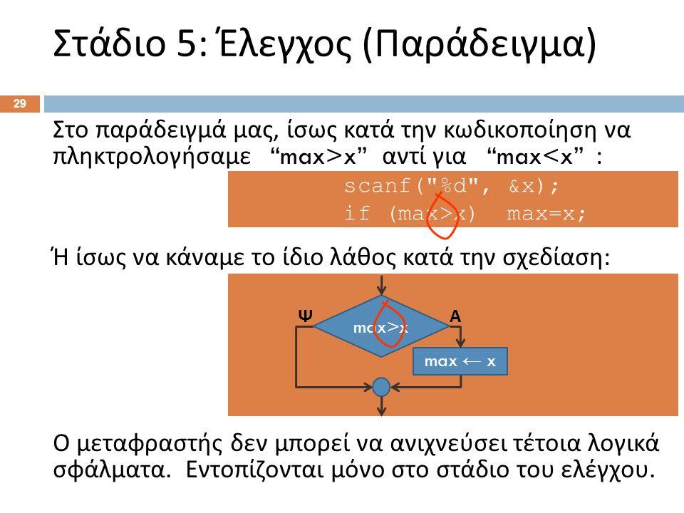 """Στάδιο 5: Έλεγχος ( Παράδειγμα ) 29 Στο παράδειγμά μας, ίσως κατά την κωδικοποίηση να πληκτρολογήσαμε """"max>x"""" αντί για """"max<x"""" : Ή ίσως να κάναμε το ί"""