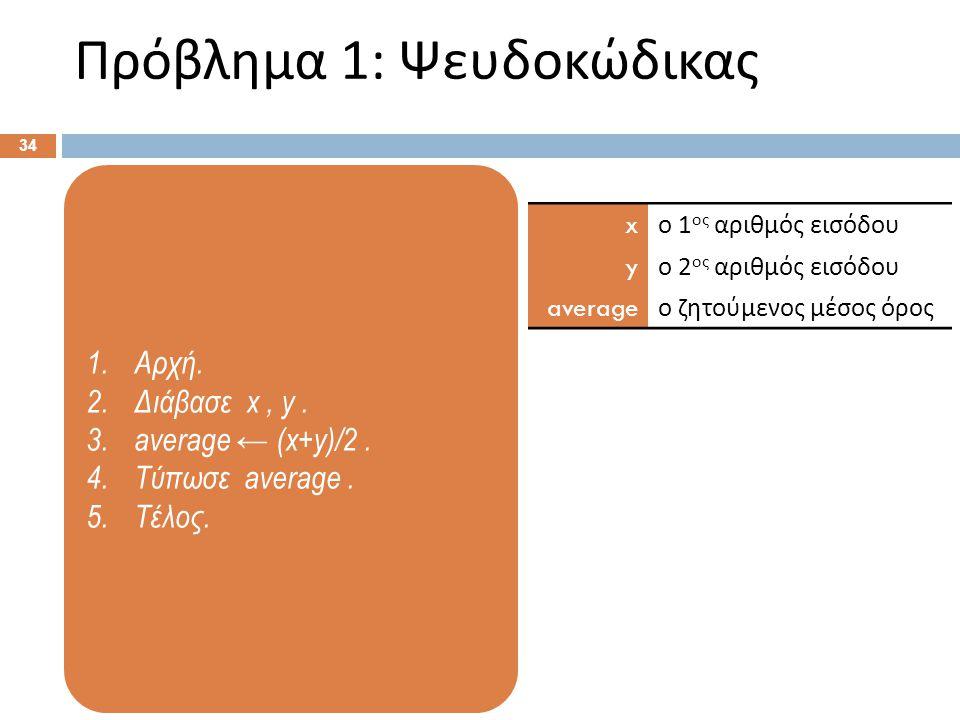 1.Αρχή. 2.Διάβασε x, y. 3.average ← (x+y)/2. 4.Τύπωσε average. 5.Τέλος. Πρόβλημα 1: Ψευδοκώδικας 34 x ο 1 ος αριθμός εισόδου y ο 2 ος αριθμός εισόδου