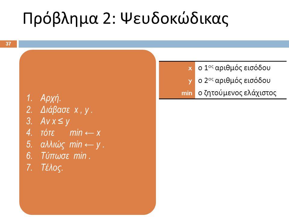 1.Αρχή. 2.Διάβασε x, y. 3.Αν x ≤ y 4.τότε min ← x 5.αλλιώς min ← y. 6.Τύπωσε min. 7.Τέλος. Πρόβλημα 2: Ψευδοκώδικας 37 x ο 1 ος αριθμός εισόδου y ο 2
