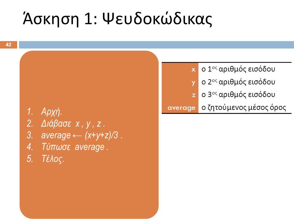 1.Αρχή. 2.Διάβασε x, y, z. 3.average ← (x+y+z)/3. 4.Τύπωσε average. 5.Τέλος. Άσκηση 1: Ψευδοκώδικας 42 x ο 1 ος αριθμός εισόδου y ο 2 ος αριθμός εισόδ