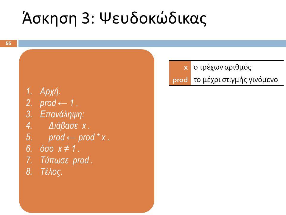 1.Αρχή. 2.prod ← 1. 3.Επανάληψη: 4. Διάβασε x. 5. prod ← prod * x. 6.όσο x ≠ 1. 7.Τύπωσε prod. 8.Τέλος. Άσκηση 3: Ψευδοκώδικας 55 x ο τρέχων αριθμός p