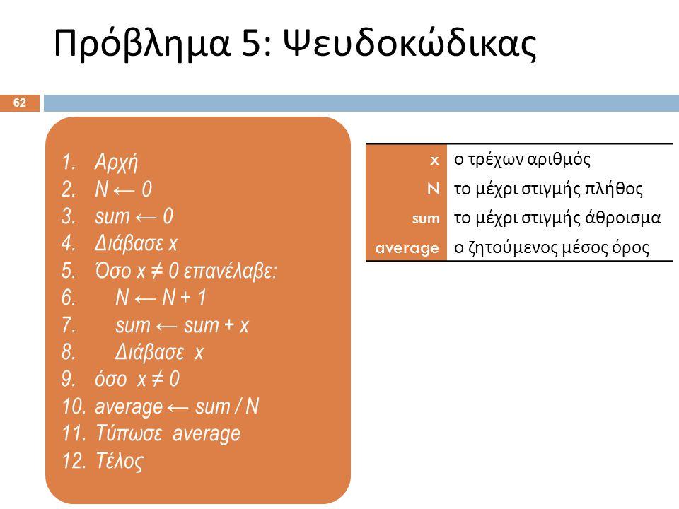 1.Αρχή 2.Ν ← 0 3.sum ← 0 4.Διάβασε x 5.Όσο x ≠ 0 επανέλαβε: 6. Ν ← Ν + 1 7. sum ← sum + x 8. Διάβασε x 9.όσο x ≠ 0 10.average ← sum / N 11.Τύπωσε aver