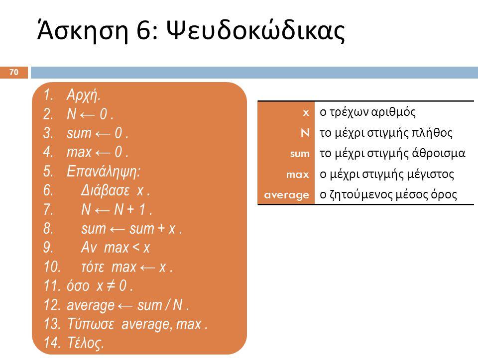 1.Αρχή. 2.Ν ← 0. 3.sum ← 0. 4.max ← 0. 5.Επανάληψη: 6. Διάβασε x. 7. Ν ← Ν + 1. 8. sum ← sum + x. 9. Αν max < x 10. τότε max ← x. 11.όσο x ≠ 0. 12.ave
