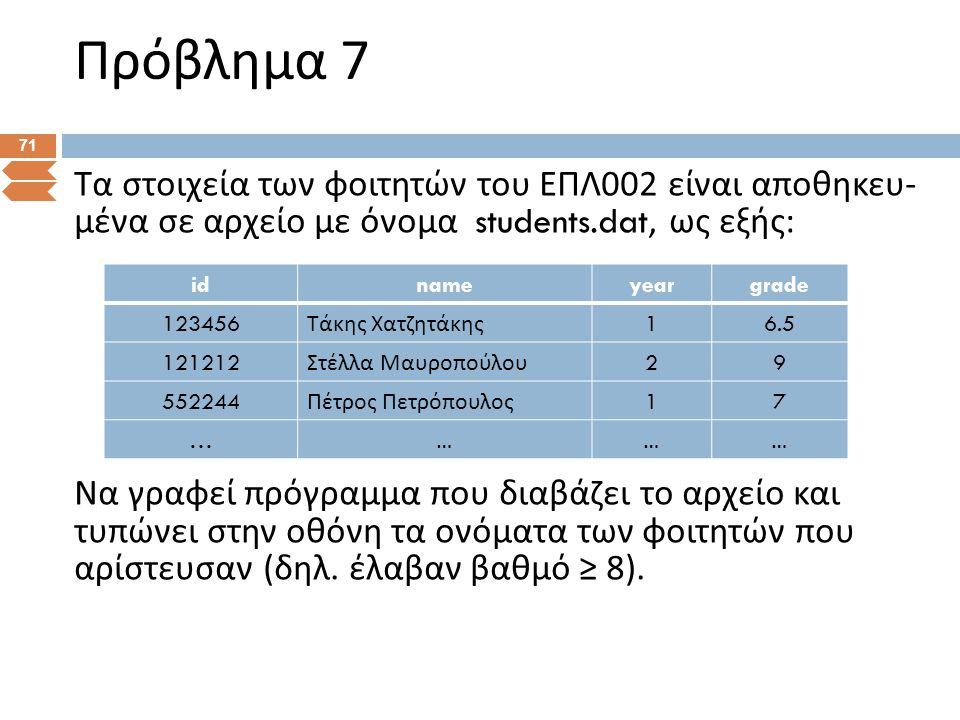 Πρόβλημα 7 71 Τα στοιχεία των φοιτητών του ΕΠΛ 002 είναι αποθηκευ - μένα σε αρχείο με όνομα students.dat, ως εξής : Να γραφεί πρόγραμμα που διαβάζει τ