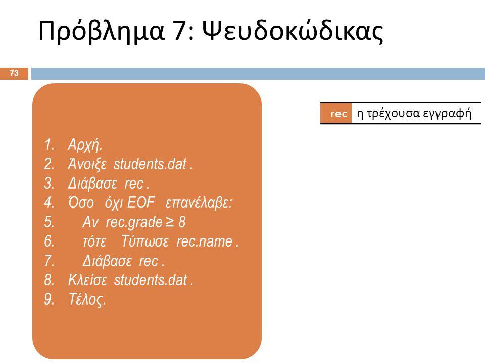 1.Αρχή. 2.Άνοιξε students.dat. 3.Διάβασε rec. 4.Όσο όχι EOF επανέλαβε: 5. Αν rec.grade ≥ 8 6. τότε Τύπωσε rec.name. 7. Διάβασε rec. 8.Κλείσε students.