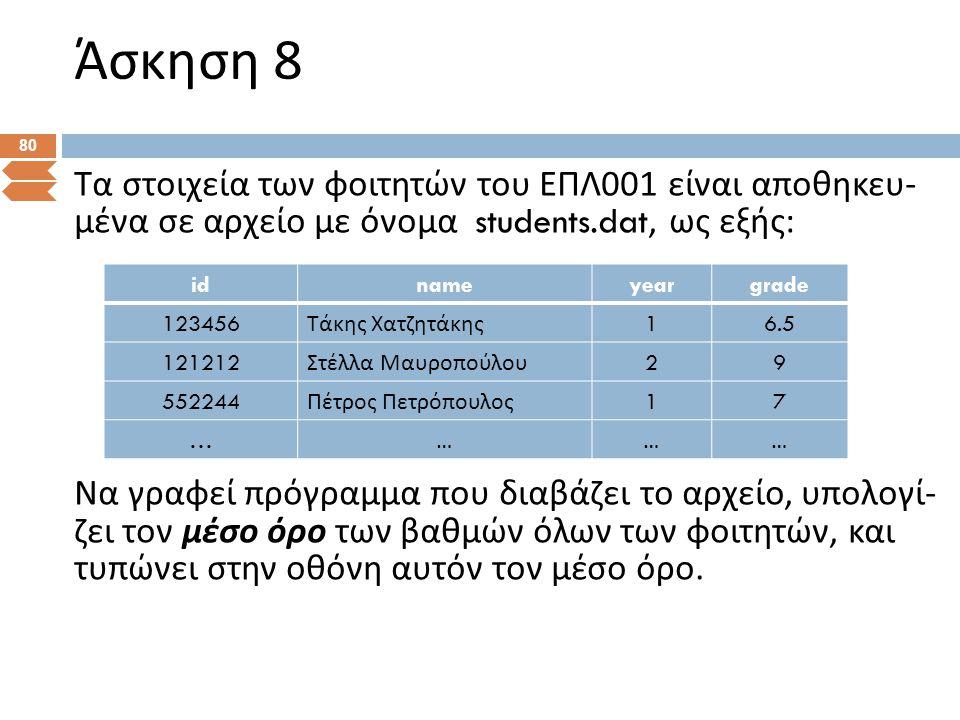 Άσκηση 8 80 Τα στοιχεία των φοιτητών του ΕΠΛ 00 1 είναι αποθηκευ - μένα σε αρχείο με όνομα students.dat, ως εξής : Να γραφεί πρόγραμμα που διαβάζει το