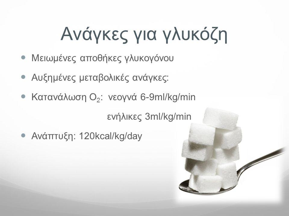 Ανάγκες για γλυκόζη  Μειωμένες αποθήκες γλυκογόνου  Αυξημένες μεταβολικές ανάγκες:  Κατανάλωση Ο 2 : νεογνά 6-9ml/kg/min ενήλικες 3ml/kg/min  Ανάπ