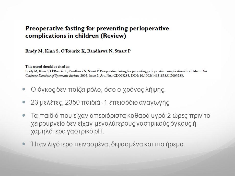 Ο όγκος δεν παίζει ρόλο, όσο ο χρόνος λήψης.  23 μελέτες, 2350 παιδιά- 1 επεισόδιο αναγωγής  Τα παιδιά που είχαν απεριόριστα καθαρά υγρά 2 ώρες πρ