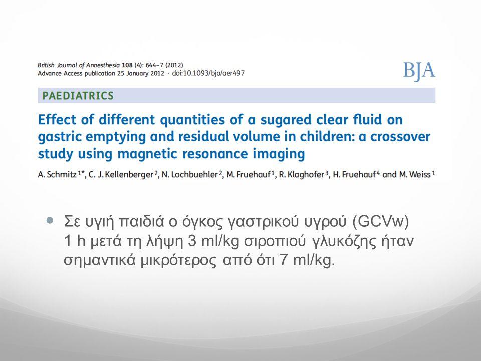  Σε υγιή παιδιά o όγκος γαστρικού υγρού (GCVw) 1 h μετά τη λήψη 3 ml/kg σιροπιού γλυκόζης ήταν σημαντικά μικρότερος από ότι 7 ml/kg.