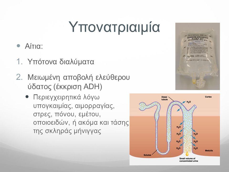 Υπονατριαιμία  Αίτια: 1. Υπότονα διαλύματα 2. Μειωμένη αποβολή ελεύθερου ύδατος (έκκριση ADH)  Περιεγχειρητικά λόγω υπογκαιμίας, αιμορραγίας, στρες,