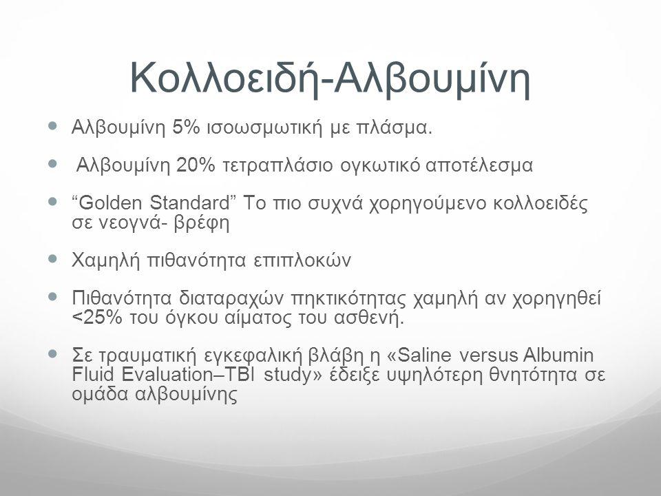 "Koλλοειδή-Αλβουμίνη  Αλβουμίνη 5% ισοωσμωτική με πλάσμα.  Αλβουμίνη 20% τετραπλάσιο ογκωτικό αποτέλεσμα  ""Golden Standard"" Tο πιο συχνά χορηγούμενο"