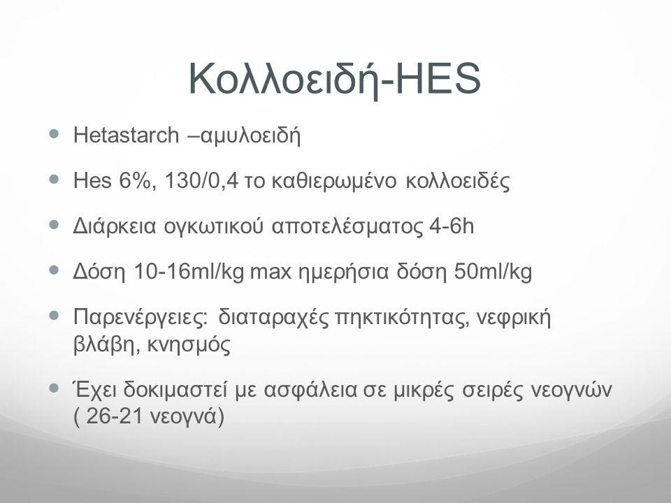 Κολλοειδή-HES  Hetastarch –αμυλοειδή  Hes 6%, 130/0,4 το καθιερωμένο κολλοειδές  Διάρκεια ογκωτικού αποτελέσματος 4-6h  Δόση 10-16ml/kg max ημερήσ