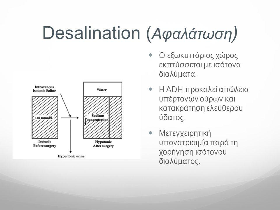Desalination ( Aφαλάτωση )  O εξωκυττάριος χώρος εκπτύσσεται με ισότονα διαλύματα.  Η ADH προκαλεί απώλεια υπέρτονων ούρων και κατακράτηση ελεύθερου