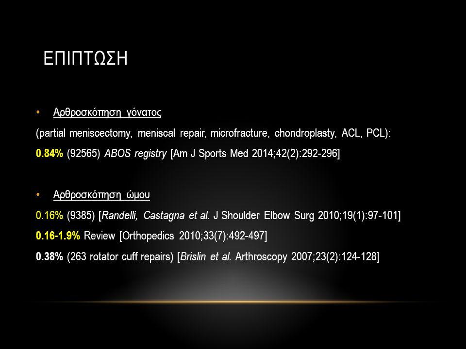 • Αρθροσκόπηση Ποδοκνημικής 0.15% (1305) [ Van Dijk KSSTA 2012;20(8):1420-1431] 0.6% Review 1.06% (189 posterior and hind foot arthroscopy) [ Amendola JBJS Am 2012;94(5):439- 446] • Αρθροσκόπηση ισχίου 0.09% (1054) [ Villar Clin Orthop Relat Res 2003;(406):84-88] 0.38% (236) [ Chan et al.