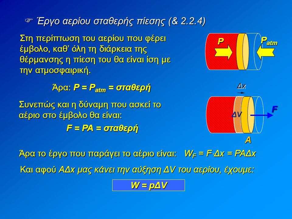 Στη περίπτωση του αερίου που φέρει έμβολο, καθ' όλη τη διάρκεια της θέρμανσης η πίεση του θα είναι ίση με την ατμοσφαιρική.  Έργο αερίου σταθερής πίε