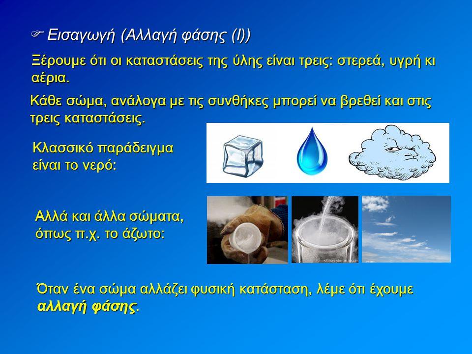 Ξέρουμε ότι οι καταστάσεις της ύλης είναι τρεις: στερεά, υγρή κι αέρια.  Εισαγωγή (Αλλαγή φάσης (Ι)) Κάθε σώμα, ανάλογα με τις συνθήκες μπορεί να βρε