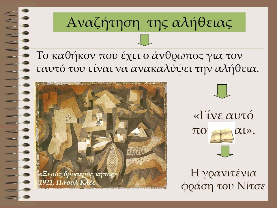 Η γρανιτένια φράση του Νίτσε Το καθήκον που έχει ο άνθρωπος για τον εαυτό του είναι να ανακαλύψει την αλήθεια. «Γίνε αυτό που είσαι». Αναζήτηση της αλ