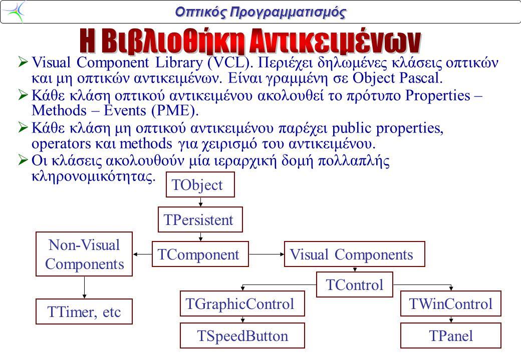 Οπτικός Προγραμματισμός  Όλες οι κλάσεις οπτικών αντικειμένων κληρονομούνται από την κλάση TControl.