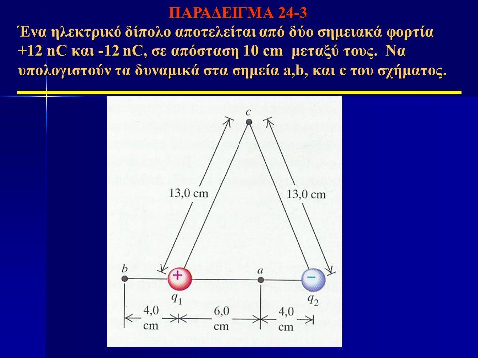 Ένα ηλεκτρικό δίπολο αποτελείται από δύο σημειακά φορτία +12 nC και -12 nC, σε απόσταση 10 cm μεταξύ τους. Να υπολογιστούν τα δυναμικά στα σημεία a,b,