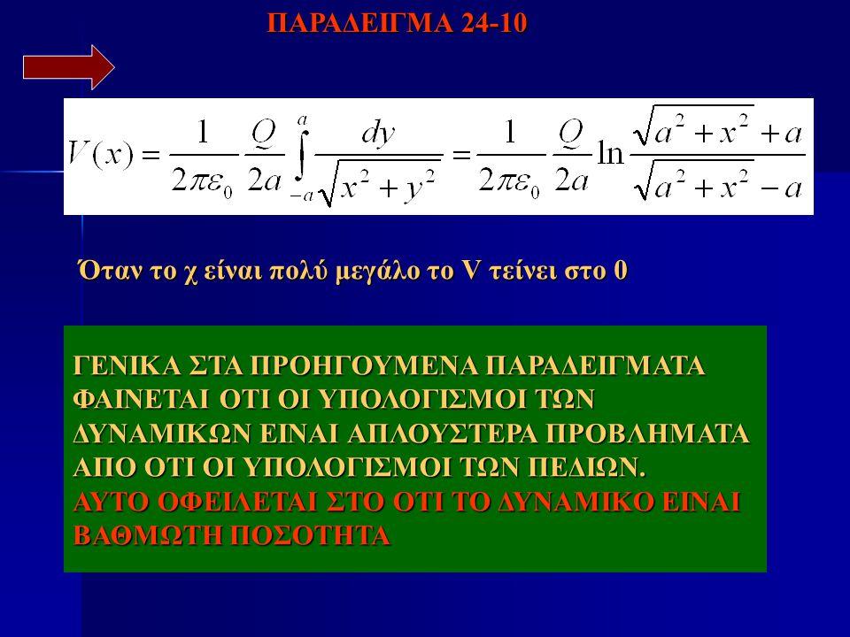 Όταν το χ είναι πολύ μεγάλο το V τείνει στο 0 ΠΑΡΑΔΕΙΓΜΑ 24-10 ΓΕΝΙΚΑ ΣΤΑ ΠΡΟΗΓΟΥΜΕΝΑ ΠΑΡΑΔΕΙΓΜΑΤΑ ΦΑΙΝΕΤΑΙ ΟΤΙ ΟΙ ΥΠΟΛΟΓΙΣΜΟΙ ΤΩΝ ΔΥΝΑΜΙΚΩΝ ΕΙΝΑΙ ΑΠΛ