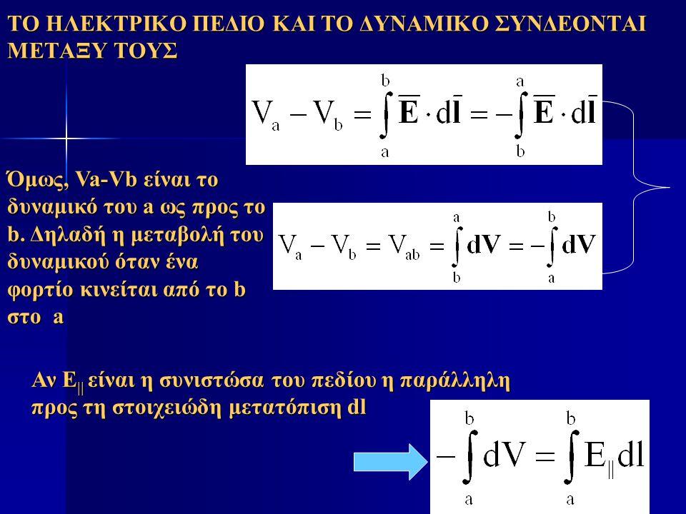 ΤΟ ΗΛΕΚΤΡΙΚΟ ΠΕΔΙΟ ΚΑΙ ΤΟ ΔΥΝΑΜΙΚΟ ΣΥΝΔΕΟΝΤΑΙ ΜΕΤΑΞΥ ΤΟΥΣ Όμως, Va-Vb είναι το δυναμικό του a ως προς το b. Δηλαδή η μεταβολή του δυναμικού όταν ένα φ