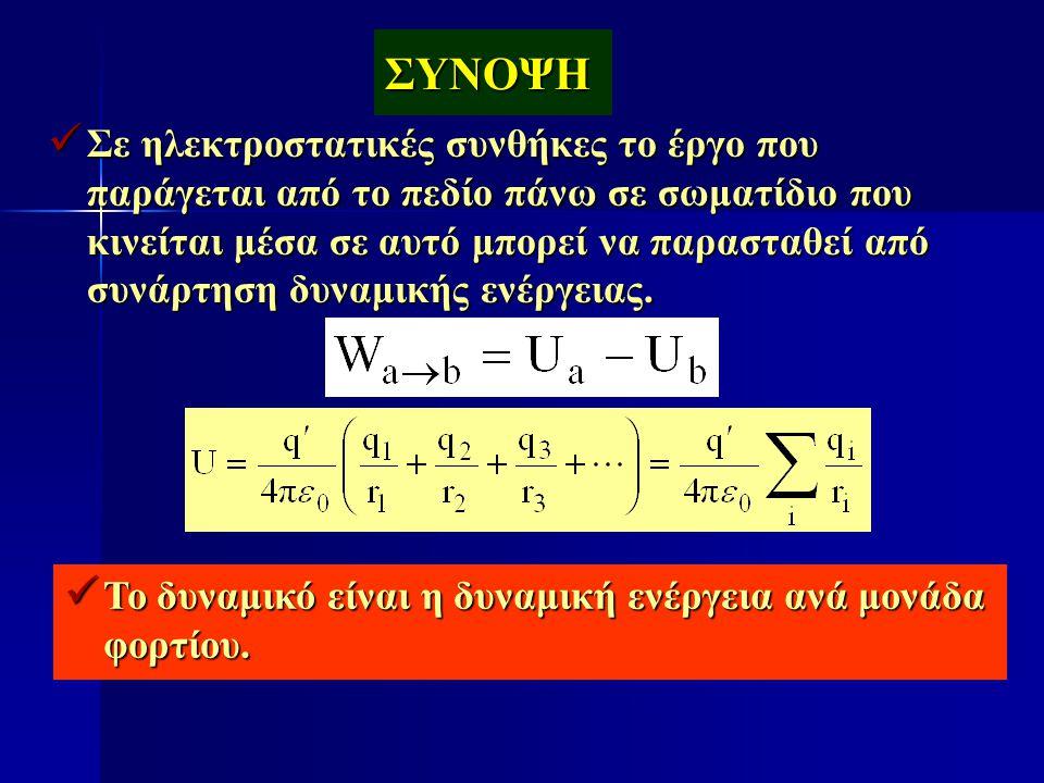 ΣΥΝΟΨΗ  Σε ηλεκτροστατικές συνθήκες το έργο που παράγεται από το πεδίο πάνω σε σωματίδιο που κινείται μέσα σε αυτό μπορεί να παρασταθεί από συνάρτηση